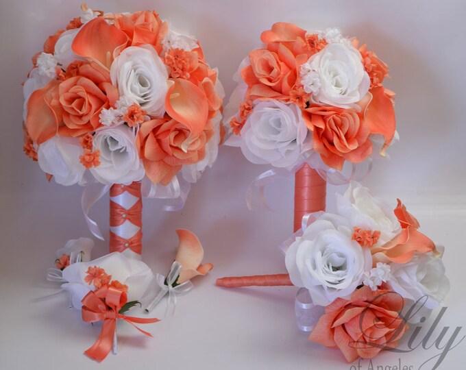 Wedding Bouquet, Bridal Bouquet, Bridesmaid Bouquet, Silk Flower Bouquet, Wedding Flowers, 17 Piece Set, Coral, Coral Reef, Lily of Angeles