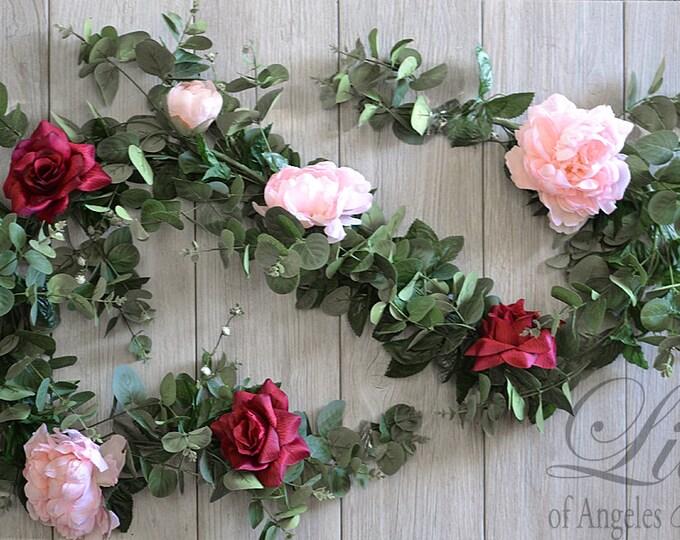 Eucalyptus Garland, Flower Garland, Floral Garland, Wedding Garland, Silk Flower Garland, Wedding Flower Garland, Garland, Lily of Angeles