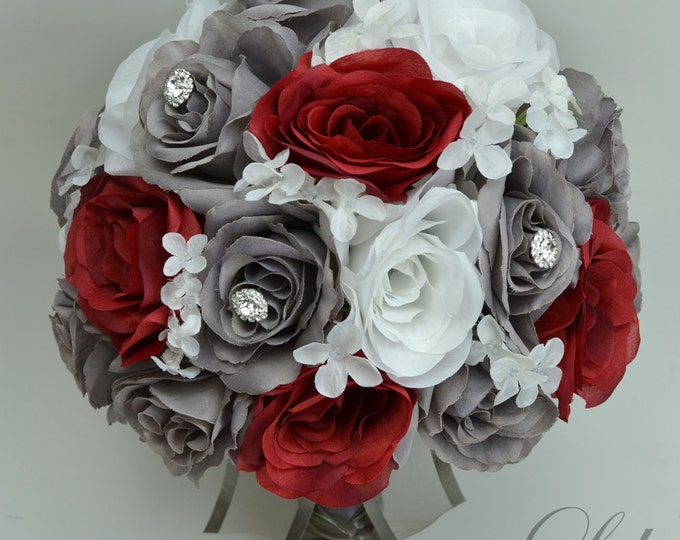 Wedding Bouquet, Silk Flower Bouquet, Wedding Flowers, Bouquet Wedding, Bridal Bouquet, Flower bouquet, Charcoal, Red, gray, Lily of Angeles