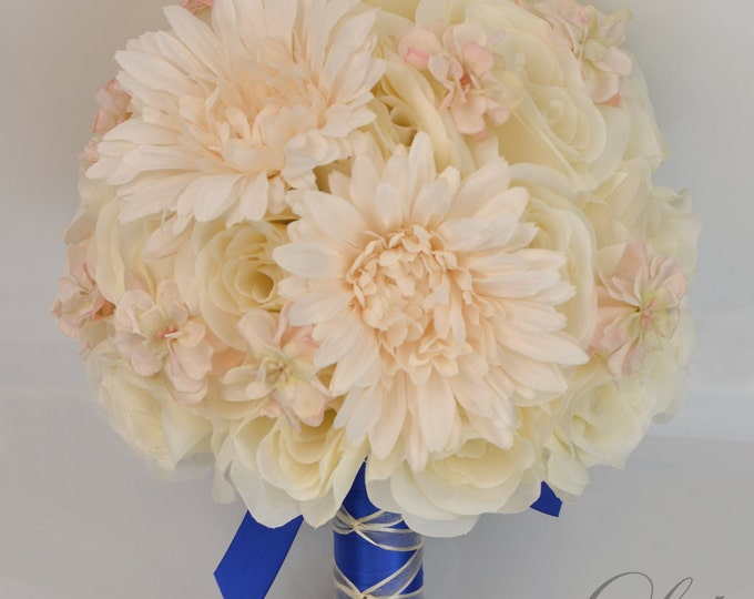 Wedding Bouquet, Bridal Bouquet, Bridesmaid Bouquet, Silk Flower Bouquet, Wedding Flowers, 17 piece Set, Peach, Royal Blue, Lily of Angeles
