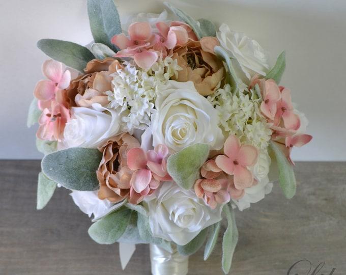 Wedding Bouquet, Bridal Bouquet, Bridesmaid Bouquet, Silk Flower Bouquet, Wedding Flower, Ivory, Blush, Pink, Peach, Khaki, Lily of Angeles