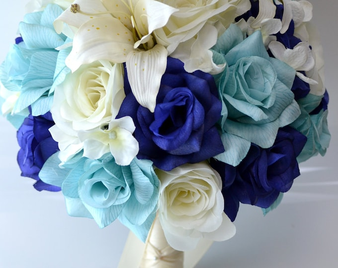 Wedding Bouquet, Bridal Bouquet, Bridesmaid Bouquet, Silk Flower Bouquet, Wedding Flowers, 17 Piece Set, Navy, Blue, Aqua, Lily of Angeles