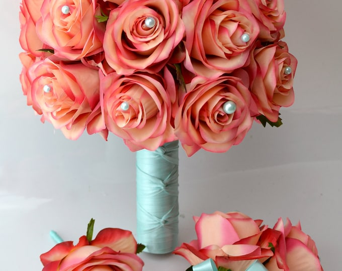 """Bridal Bride Bouquet Groom Boutonniere Wedding Elegant Set Roses CORAL Robin's Egg BLUE pearl """"Lily of Angeles"""" COCO01"""