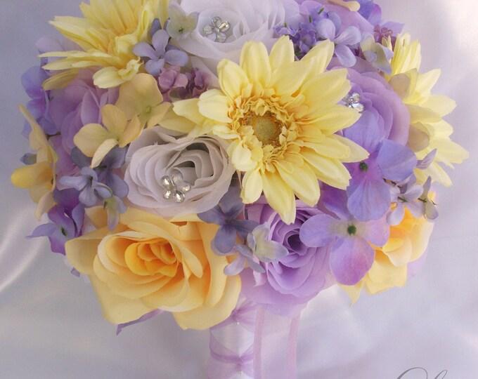 Wedding Bouquet, Bridesmaid Bouquet, Wedding Flower, Silk Flower Bouquet, Bouquet, 17 Piece Set, Yellow, Lavender, Wisteria, Lily of Angeles