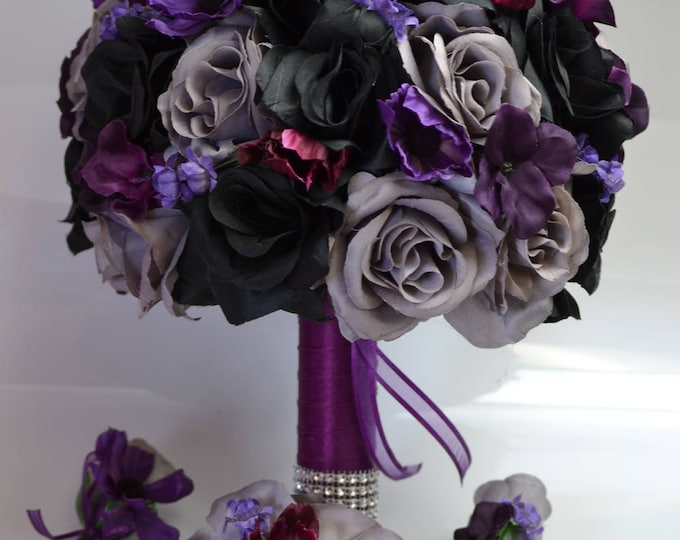 17 Piece Package, wedding bouquet, bouquet, bridal bouquet, Silk bouquet, flower bouquet, silk flower, BLACK, PLUM, gray, Lily of Angeles