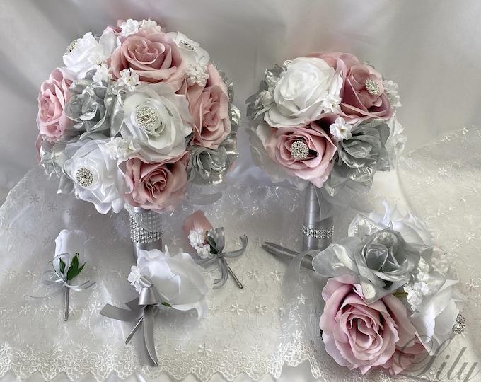 Wedding Bouquet, Bridal Bouquet, Bridesmaid Bouquet, Silk Flower, Wedding Flower, Silver, Dusty Pink, Lily of Angeles