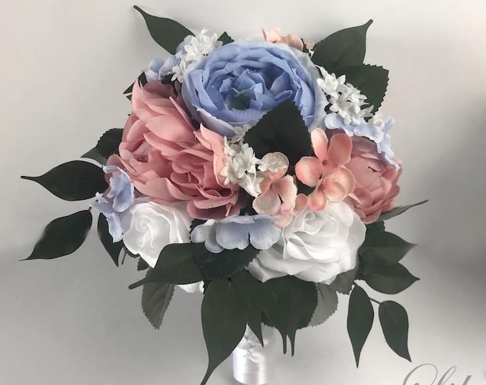 Wedding Bouquet, Bridal Bouquet, Bridesmaid Bouquet, Silk Flower Bouquet, Wedding Flower, Mauve, Slate Blue, Dusty Blue, Sky Lily of Angeles