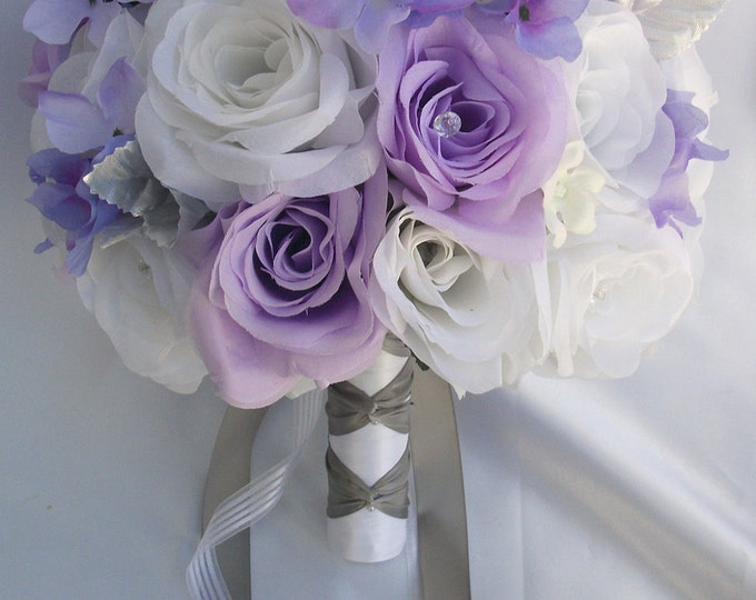 Wedding Bouquet, Bridal Bouquet, Bridesmaid Bouquet, Silk Flower Bouquet, Wedding Flower, 17 Piece Package, White, Lavender, Lily of Angeles