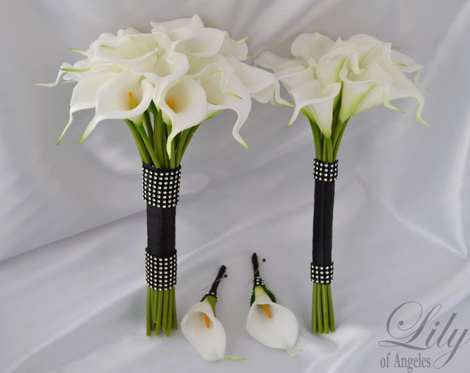 """Bride/MoH Bouquets Groom/Best man Boutonnieres Wedding Bridal Bouquet Real Touch Calla Lily White Calla Lilies More Colors """"Lily of Angeles"""""""