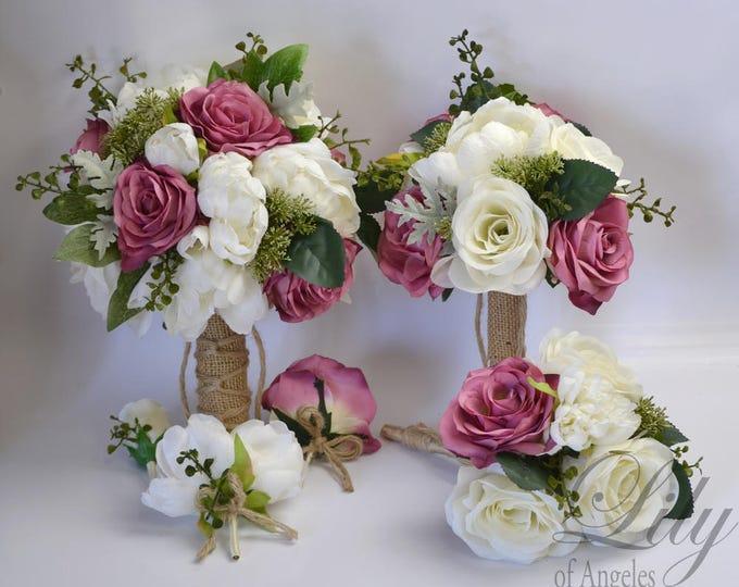 Wedding Bouquet, Bridal Bouquet, Bridesmaid Bouquet, Silk Flower Bouquet, Wedding Flowers, Silk Bouquet, Mauve, Dark Lilac, Lily of Angeles