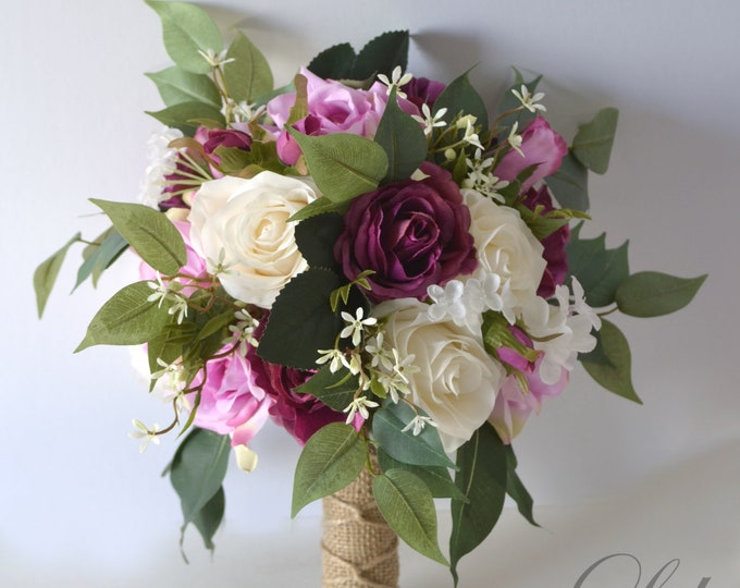 Wedding Bouquet, Bridal Bouquet, Bridesmaid Bouquet, Silk Flower Bouquet, Wedding Flower, lilac, plum, dusty pink, wisteria, Lily of Angeles