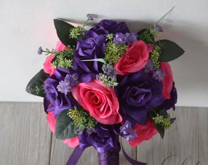 Wedding Bouquet, Bridal Bouquet, Bridesmaid Bouquet, Silk Flower Bouquet, Wedding Flower, purple, violet, fuchsia, hot pink, Lily of Angeles