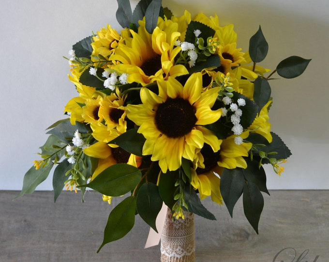 Wedding Bouquet, Bridal Bouquet, Bridesmaid Bouquet, Silk Flower Bouquet, Wedding Flower, Yellow, Sunflower, Greenery, Lily of Angeles
