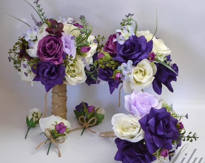 Wedding Bouquet, Bridal Bouquet, Bridesmaid Bouquet, Flower Bouquet, Wedding Flowers, Silk Bouquet, Plum, Lavender, Purple, Lily of Angeles