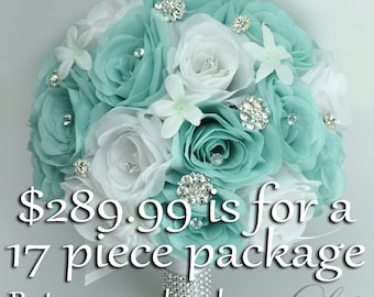 Wedding Bouquet, Bridal Bouquet, Silk Flower Bouquet, Wedding Flower, Silk Bouquet, 17 Piece Package, Robin's Egg Blue, Spa, Lily of Angeles