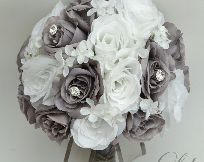 Wedding Bouquet, Bridal Bouquet, Bridesmaid Bouquet, Silk Flower Bouquet, Wedding Flowers, 17 Piece Package, gray, Charcoal, Lily of Angeles