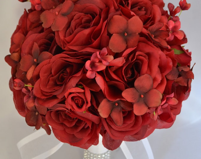 Wedding Bouquet, Bridal Bouquet, Bridesmaid Bouquet, Silk Flower Bouquet, Wedding Flowers, 17 Piece Package, APPLE RED, Red, Lily of Angeles