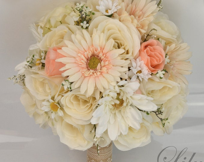 Wedding Bouquets, Bridal Bouquet, Bridesmaid Bouquets, Silk Flower Bouquet, Wedding Flowers, 17 Piece Package, Ivory, Peach, Lily of Angeles