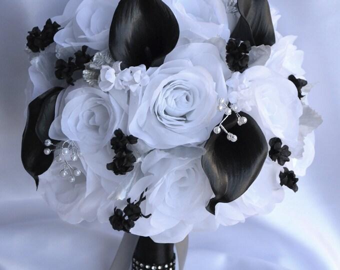 Wedding Bouquet, Bridal Bouquet, Bridesmaid Bouquet, Silk Flower Bouquet, Wedding Flowers, 17 Piece Package, Black, Silver, Lily of Angeles
