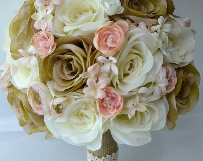 Wedding Bouquet, Bridal Bouquet, Bridesmaid Bouquet, Silk Flower Bouquet, Wedding Flowers, 17 Piece Set, Peach, Tan, Burlap, Lily of Angeles