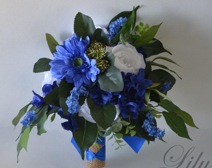 Wedding Bouquet, Bridal Bouquet, Bridesmaid Bouquet, Silk Flower Bouquet, Wedding Flower, cobalt blue, royal blue, blue, Lily of Angeles
