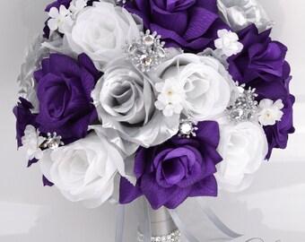 Wedding Bouquet, Bridal Bouquet, Bridesmaid Bouquet, Silk Flower, Wedding Flower, Silk Bouquet, 17 Piece Set, Purple, Silver Lily of Angeles