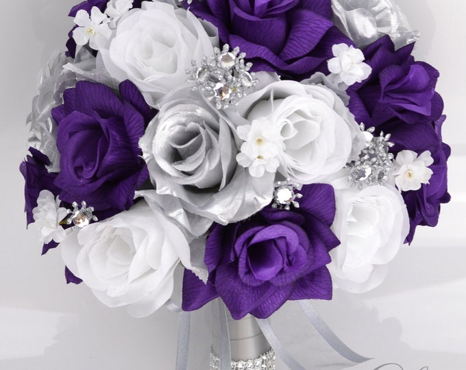 Wedding Bouquet, Bridal Bouquet, Bridesmaid Bouquet, Silk Flower, Wedding Flower, Silk Bouquet, Purple, Silver, White, Rose, Lily of Angeles