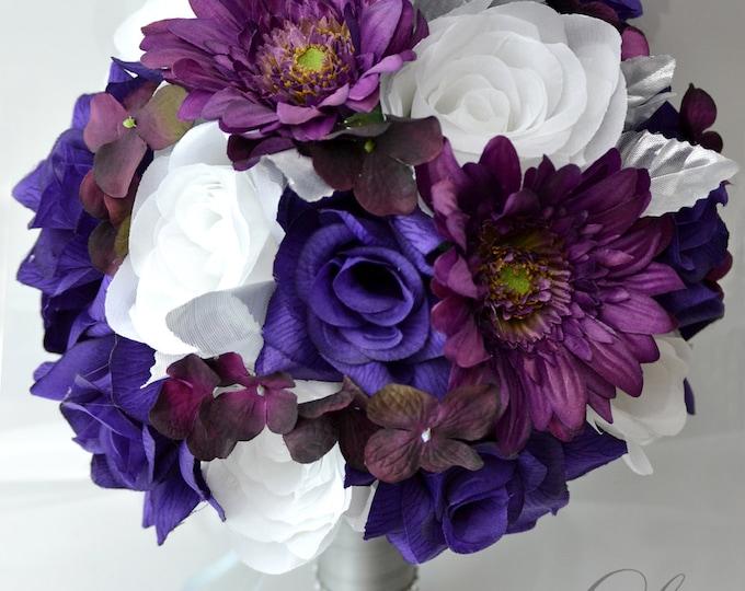 Bridal Bouquet, Wedding Bouquet, Bridesmaid Bouquet, Silk Flower Bouquet, Wedding Flowers, 17 Pieces, Plum, Silver, Purple, Lily of Angeles