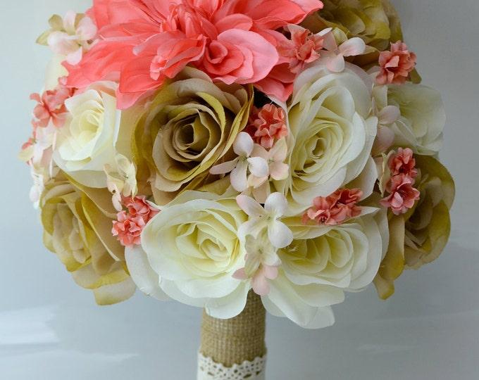 Wedding Bouquet, Bridal Bouquet, Bridesmaid Bouquet, Silk Flower Bouquet, Wedding Flowers, 17 piece Set, Coral, Guava, Tan, Lily of Angeles