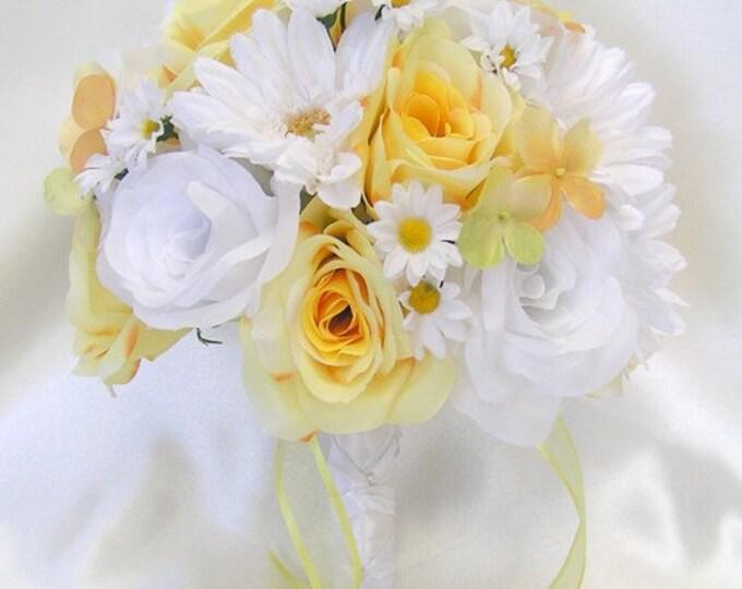 Wedding Bouquet, Bridal Bouquet, Bridesmaid Bouquet, Silk Flower Bouquet, Wedding Flowers, 17 Piece Package, Yellow, White, Lily Of Angeles