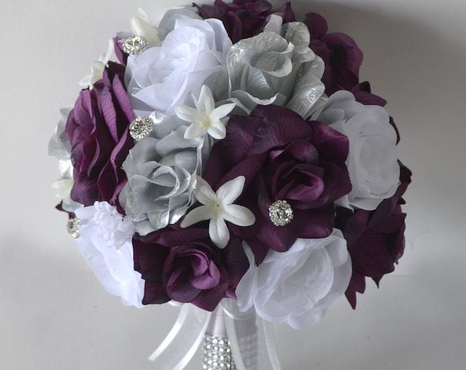 Wedding Bouquet, Bridal Bouquet, Bridesmaid Bouquet, Silk Flower Bouquet, Wedding Flower, silver, eggplant, plum, white, Lily of Angeles