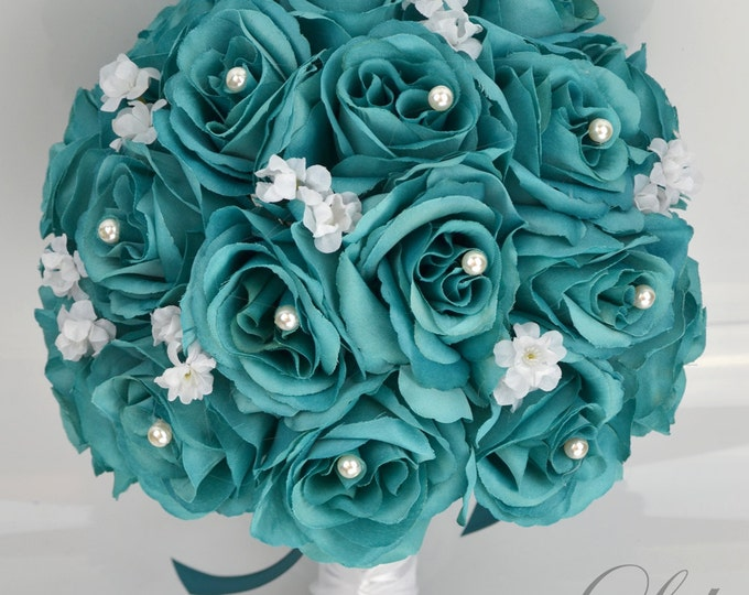 Wedding Bouquet, Bridal Bouquet, Bridesmaid Bouquet, Silk Flower Bouquet, Wedding Flower, 17 Piece Set, Emerald Green, Teal, Lily of Angeles
