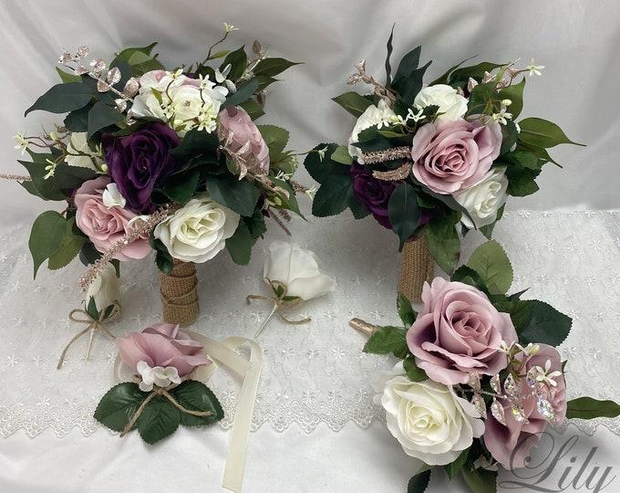 Wedding Bouquet, Bridal Bouquet, Bridesmaid Bouquet, Silk Flower, Wedding Flower, Plum Purple, Dusty Pink, Rose Gold, Lily of Angeles