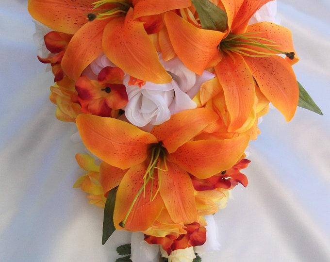 Wedding Flower, Wedding Bouquet, Silk Flower Bouquet, Bridesmaid Bouquet, Bouquet Set, Cascade, Teardrop, 17 Pieces, Orange, Lily of Angeles