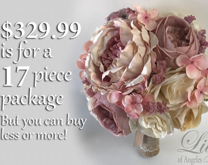 Wedding Bouquet, Bridal Bouquet, Bridesmaid Bouquet, Silk Flower Bouquet, Wedding Flower, Mauve, Beige, Blush, Dusty Pink, Lily of Angeles