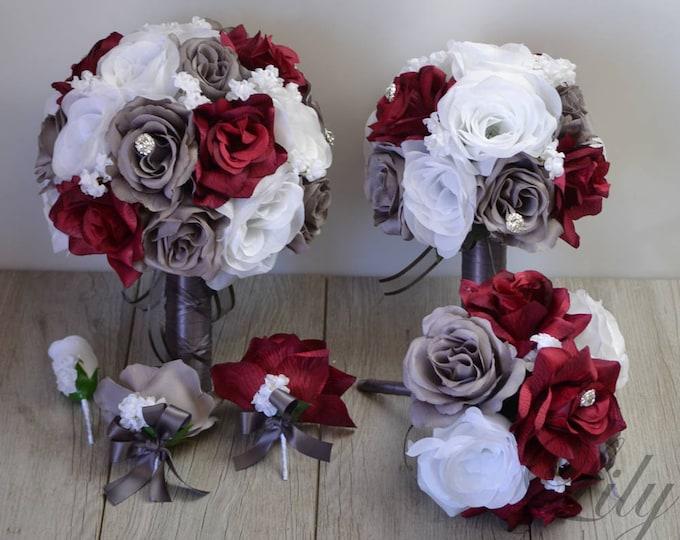 Wedding Bouquet, Bridal Bouquet, Silk Flower Bouquet, Wedding Flowers, Silk Bouquet, 17 Piece Package, Burgundy, Wine, gray, Lily of Angeles