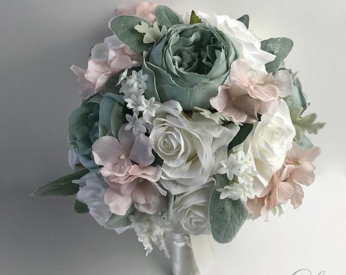 Wedding Bouquet, Bridal Bouquet, Bridesmaid Bouquet, Silk Flower Bouquet, Wedding Flower, Slate Blue, Dusty Blue, Blush, Lily of Angeles