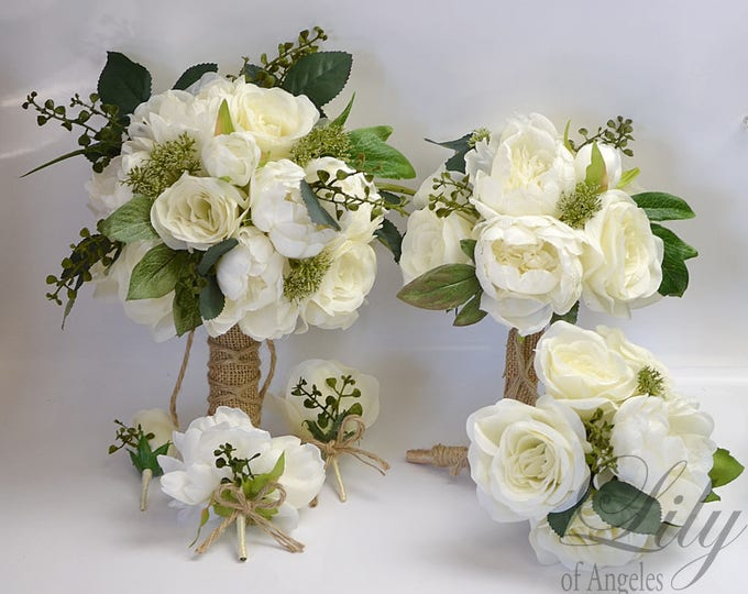 Wedding Bouquet, Bridal Bouquet, Bridesmaid Bouquet, Silk Flower Bouquet, Wedding Flower, Silk Bouquet, Ivory, Cream, Rustic Lily of Angeles