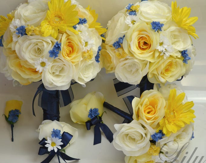 Wedding Bouquet, Bridal Bouquet, Bridesmaid Bouquet, Silk Flower Bouquet, Wedding Flowers, 17 Piece Package, Yellow, Blue, Lily of Angeles