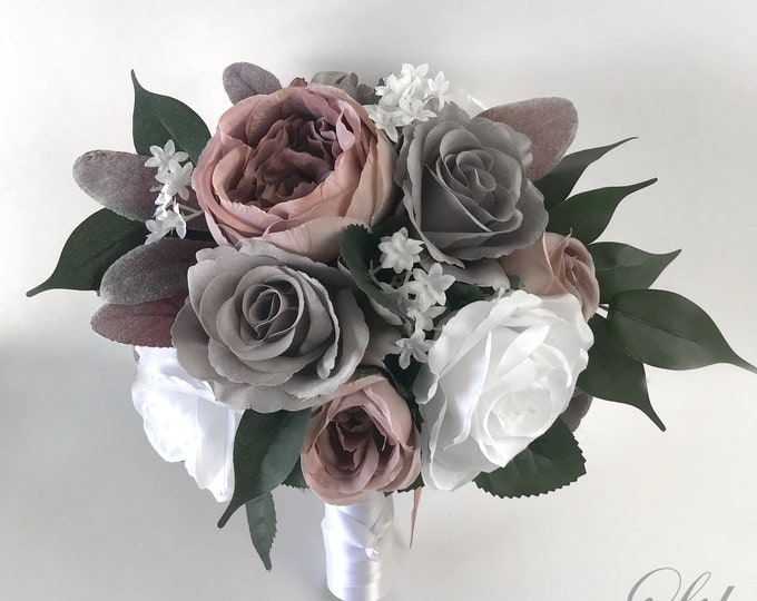 Wedding Bouquet, Bridal Bouquet, Bridesmaid Bouquet, Silk Flower Bouquet, Wedding Flower, Mauve, Dusty Pink, Gray, Charcoal, Lily of Angeles