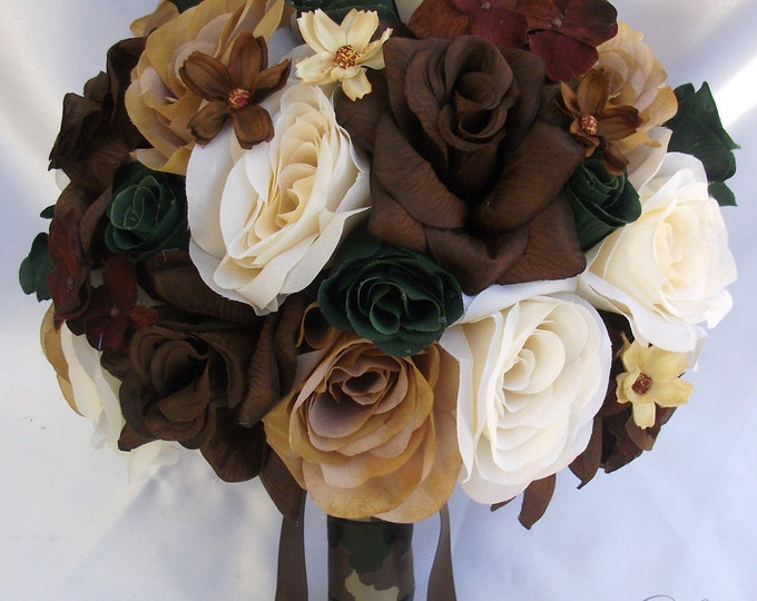 Wedding Bouquet, Bridal Bouquet, Bridesmaid Bouquet, Silk Flower Bouquet, Wedding Flowers, 17 Piece Package, Brown, Green, Lily Of Angeles