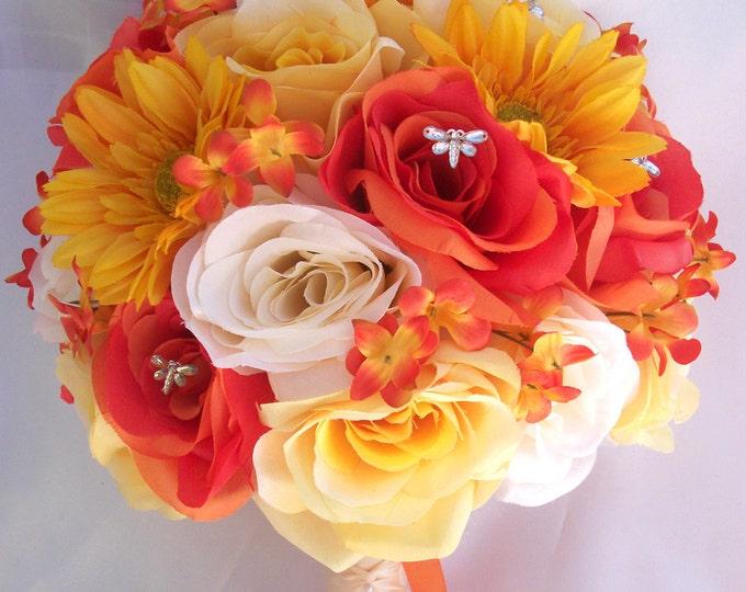 Wedding Bouquet, Bridal Bouquet, Bridesmaid Bouquet, Silk Flower Bouquet, Wedding Flowers, 17 Piece Package, Yellow, Orange, Lily Of Angeles