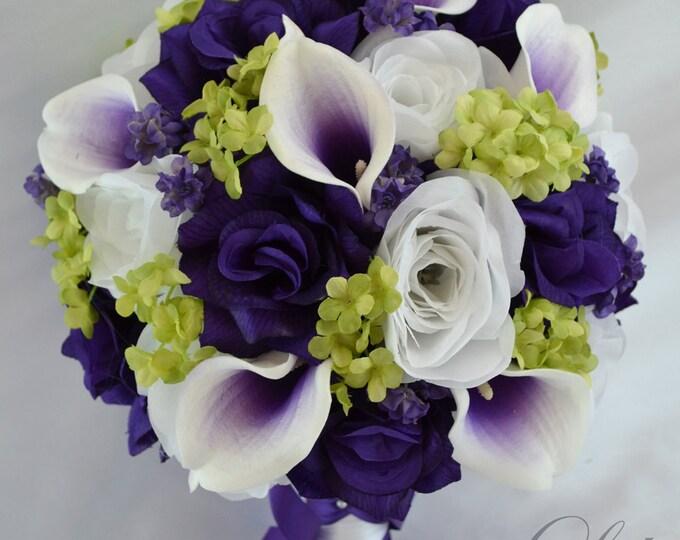 Wedding Bouquet, Bridal Bouquet, Bridesmaid Bouquet, Silk Flower Bouquet, Wedding Flowers, 17 Piece Package, Purple, Green, Lily of Angeles