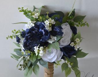 Wedding Bouquet, Bridal Bouquet, Bridesmaid Bouquet, Silk Flower Bouquet, Wedding Flower, navy blue, blue, navy, burlap, Lily of Angeles