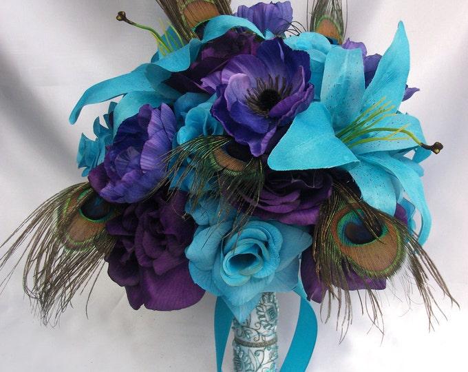 Wedding Bouquet, Bridesmaid Bouquet, Wedding Flower, Silk Flower Bouquet, Bouquet, 17 Piece Set, Turquoise, Purple, Peacock, Lily Of Angeles