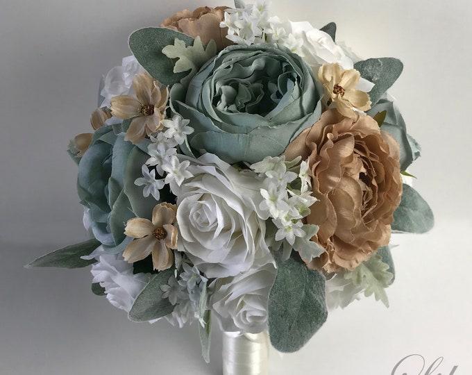 Wedding Bouquet, Bridal Bouquet, Bridesmaid Bouquet, Silk Flower Bouquet, Wedding Flower, Slate Blue, Dusty Blue, Khaki, Lily of Angeles