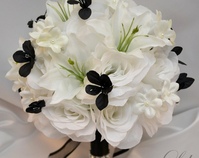 Wedding Bouquet, Bridal Bouquet, Bridesmaid Bouquet, Silk Flower Bouquet, Wedding Flower, 17 Piece Set, Black, White Winter, Lily of Angeles