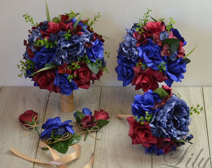 Wedding Bouquet, Bridal Bouquet, Bridesmaid Bouquet, Silk Flower, Wedding Flower, Burgundy, Maroon, Navy, Royal, Blue, Cobalt, LilyOfAngeles