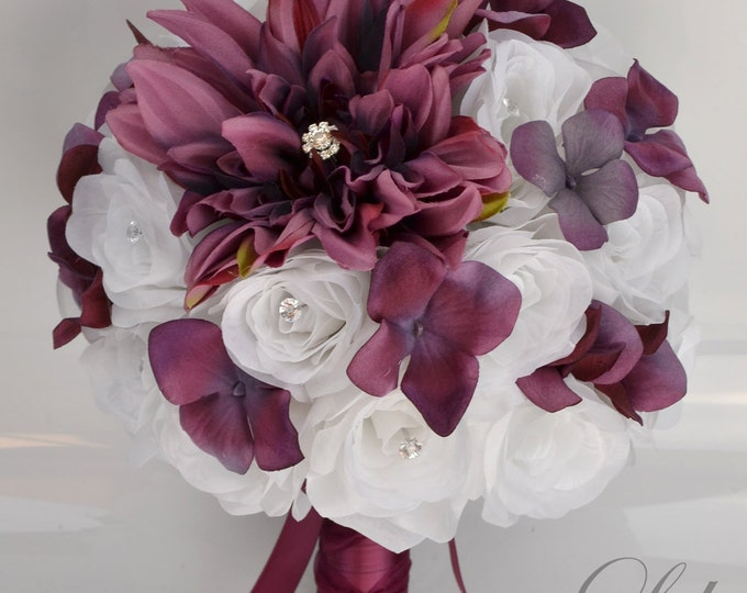 Wedding Bridal Bouquets, 17 Piece Package, Bouquet, Bride, Silk Flowers, Ceremony Decoration, MARSALA, SANGRIA, BURGUNDY, Lily of Angeles