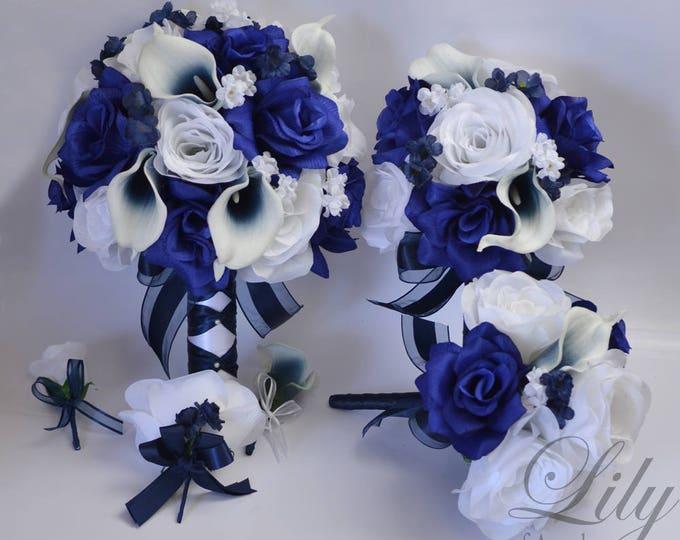 Wedding Bouquet, Bridal Bouquet, Bridesmaid Bouquet, Silk Flower Bouquet, Wedding Flowers, Silk Bouquet, Navy, Dark Blue, Lily of Angeles